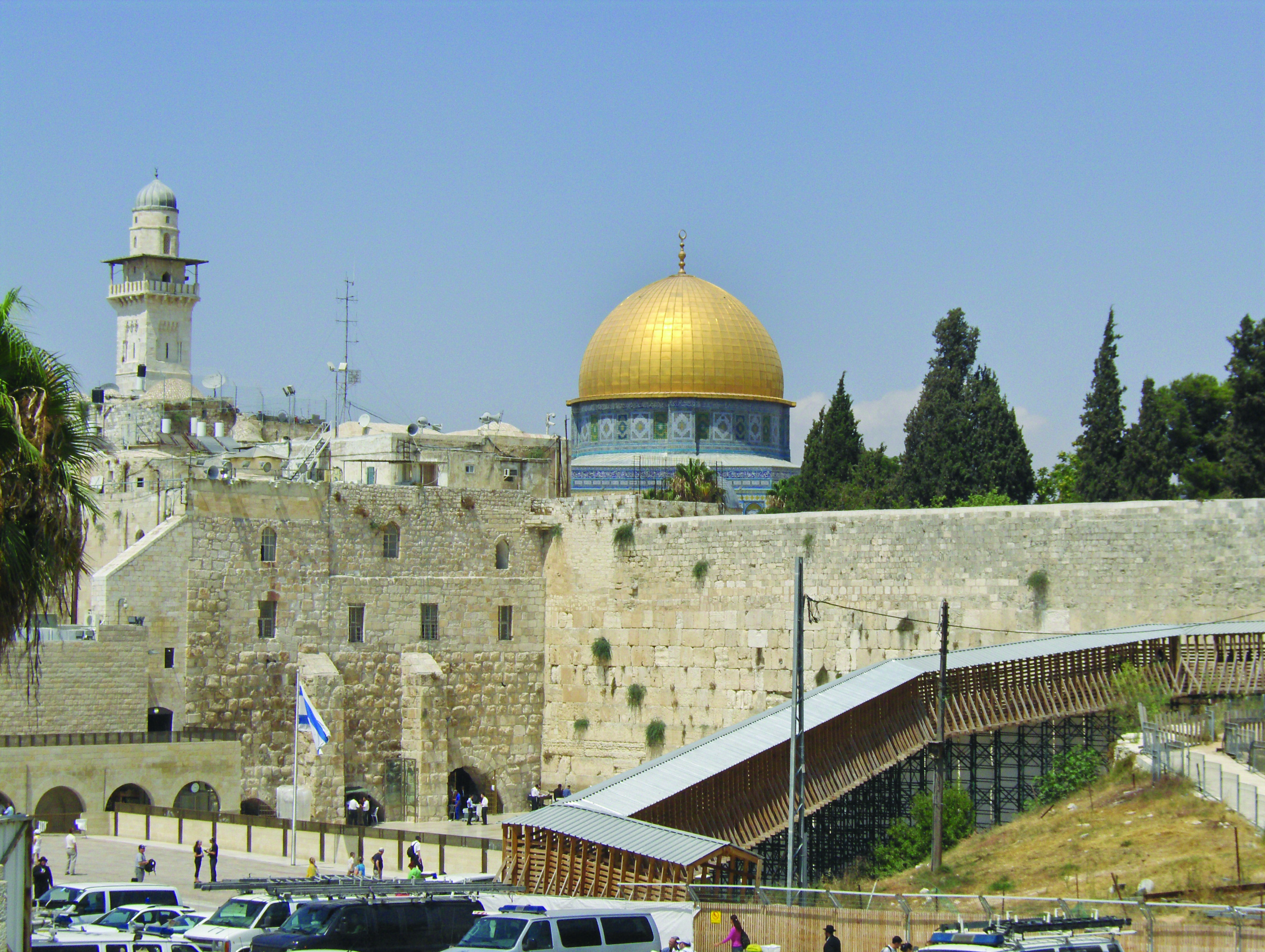 wailing wall  temple mount and dome of the rock in