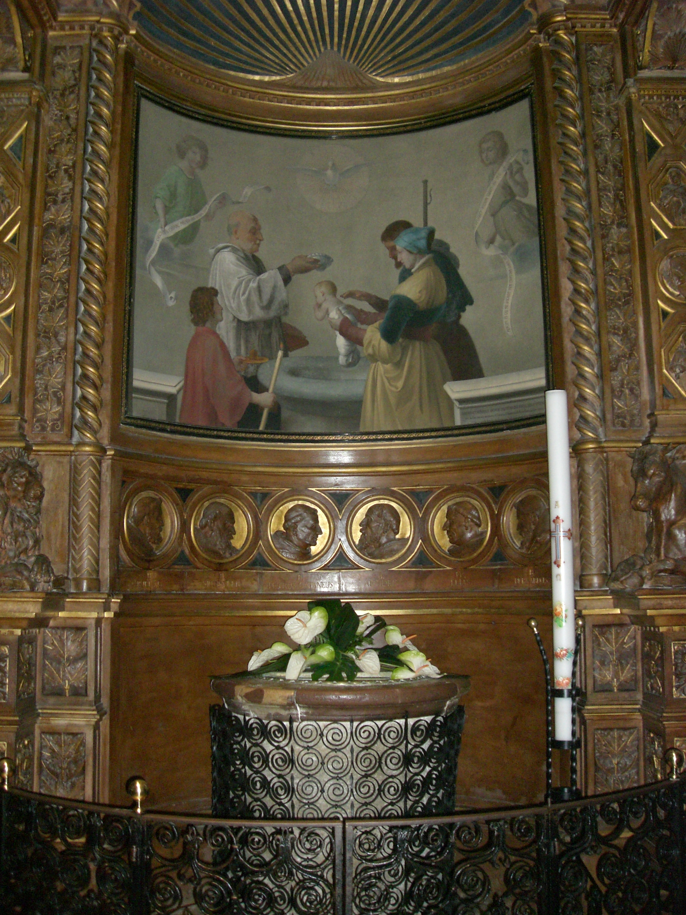 baptismal font in cathedral of san rufino  cathedral of
