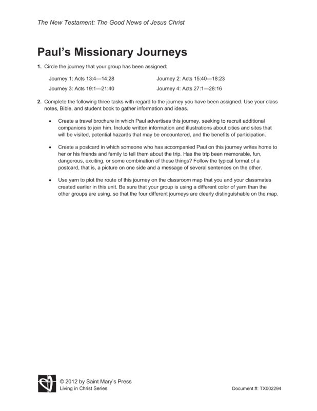 pauls missionary journey essay University of the faculty of this research traces the beginning of paul's missionary work as presented in the book of acts, pail's letters, as well as view.