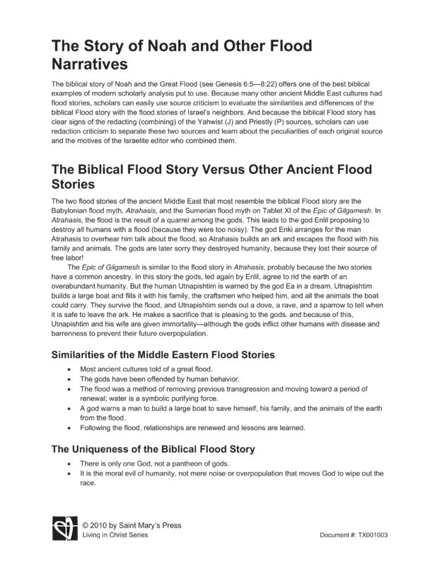 gilgamesh flood story vs biblical flood