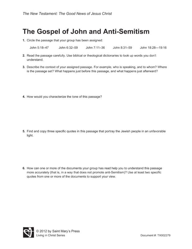 Gospel of john essay questions