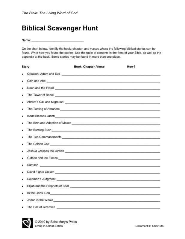Biblical Scavenger Hunt | Saint Mary's Press
