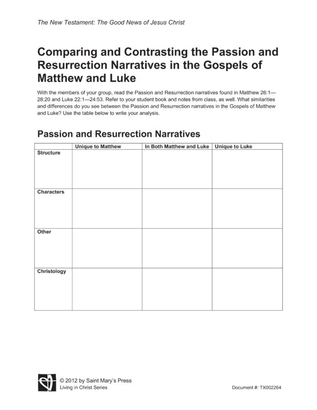 Comparing and Contrasting the Passion and Resurrection Narratives in ...