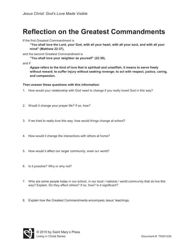 Reflection On The Greatest Commandments Saint Mary S Press