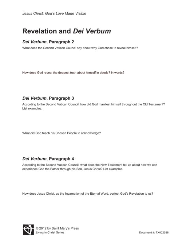 Revelation And Dei Verbum From Section 2 Part 2 Of Quot Jesus