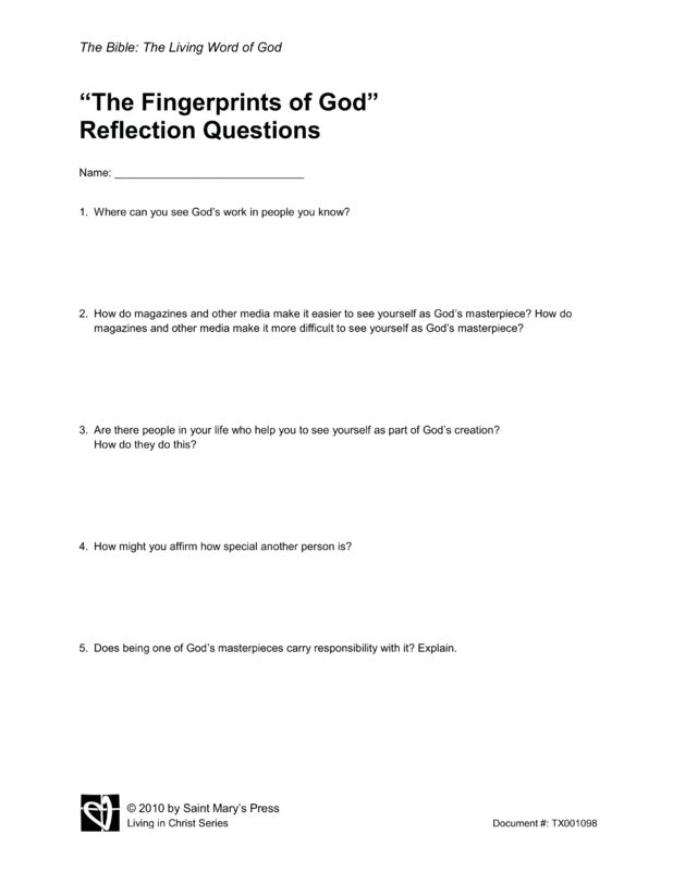 god reflection paper Faith is a relationship of trust with jesus christ and that trust is based on god's  promise that in jesus, you will find your redeemer he is the.