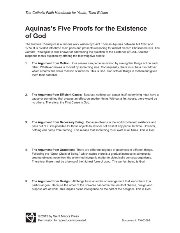 aquinas five proofs for the existence of god essay From aristotle through aquinas to the present, professor ed feser gives an   neo-scholastic essays, and five proofs of the existence of god, as well as the  editor  when classical theists spell out an argument for god's existence, or  spell out.