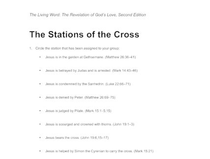 It is a graphic of Stations of the Cross for Youth Printable for catholic