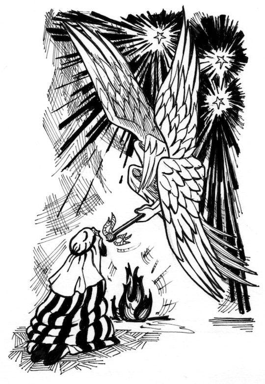 isaiah 6 illustration isaiah purified by seraphim