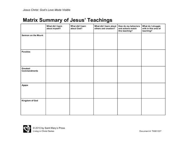 Matrix Summary of Jesus' Teachings | Saint Mary's Press