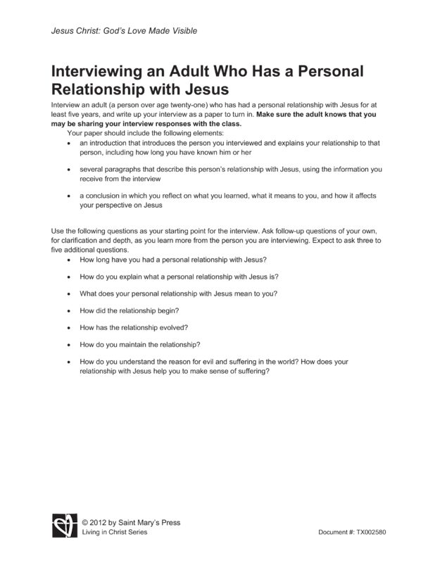 personal relationship with jesus christ essay