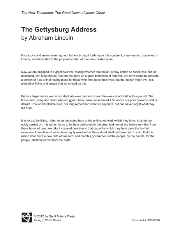 the message of the gettysburg address essay