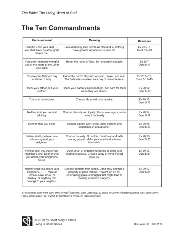 Candid image in 10 commandments printable worksheets