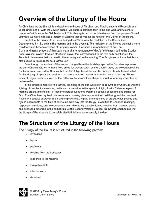 Overview Of The Liturgy Of The Hours Saint Mary S Press