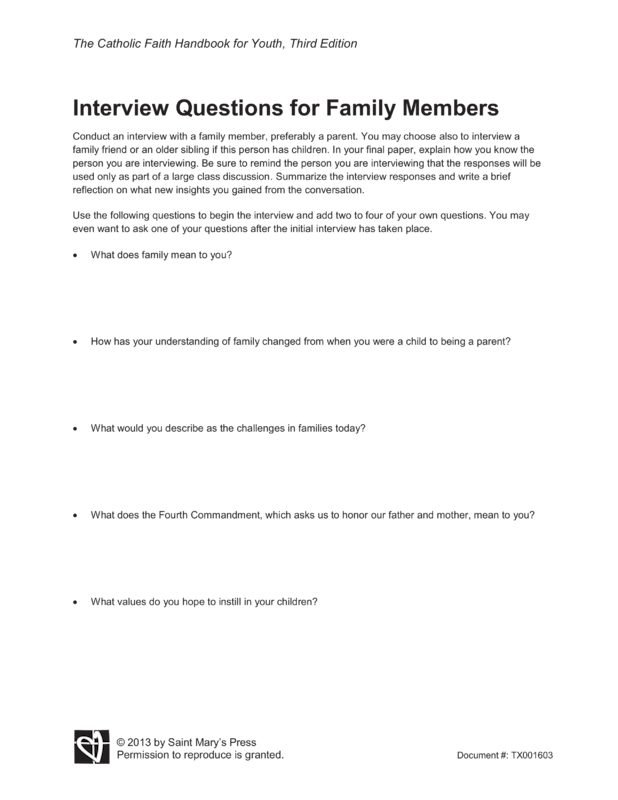 interviewing a family member essay Interview summary essay examples an introduction to the essay on the topic of an interview with einstein interviewing a family member 1,233 words.