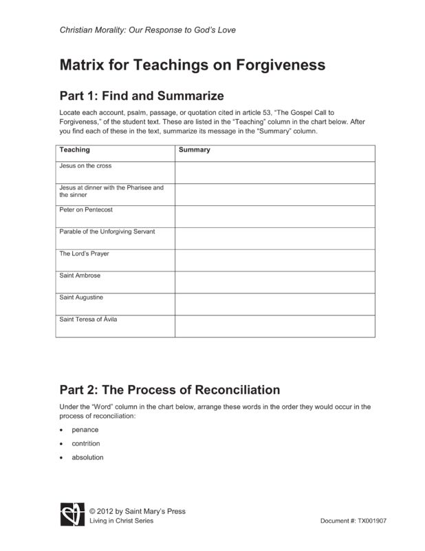 Matrix for Teachings on Forgiveness | Saint Mary's Press