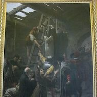 Painting of the Persecution at Tyburn in the Pinacoteca at the Vatican Museum in Rome, Italy