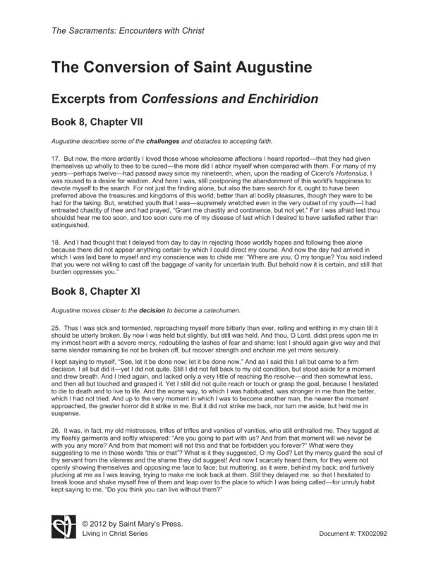 Reflection confession of st. augustine essay